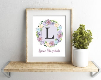Girls Wall Art, Lavender Gray Nursery Wall Decor, Baby Girl Nursery, Personalized Nursery Print, New Mom Gift, Nursery Monogram Name Print