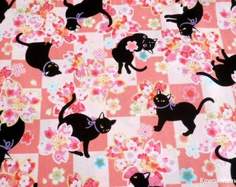 Beautiful Kimono Fabric - Black Cat Sakura on Pink - Fat Quarter (i160610)