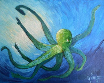 """Painting on Sale, Octopus Painting, Small Oil Painting, Sealife Painting, Coral Reef Series, 9x12x.75"""" Oil Painting, Reduced from 185.00"""
