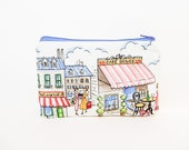 Paris Pouch, Fabric Pouch, Zipper Pouch, Gift for Her, Gift Under 20, Pouch, Coin Purse, Change Pouch, Organizer, Small Make Up, Paris Cafe