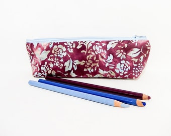 Batik Pencil Case, Pencil Pouch, Cosmetic Bag, Zipper Pouch, Fabric Pouch, Pouch, Gift for Her, Gift Under 20, Batik Floral Blue and Purple
