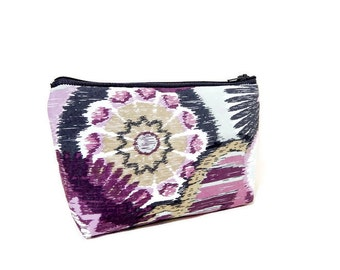 Boho Pouch, Cosmetic Bag, Pencil Pouch, Zipper Pouch, Fabric Pouch, Pouch, Gift for Her, Gift Under 20, Boho Medallions in Purple and Grey