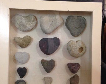 Beach stone Hearts wall art in a shadow box- beach house-Malibu hearts natural pebble hearts Valentine gift