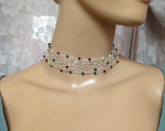 Crochet Knitted choker fine silver and Swarovski crystals-red green and Opal necklace Xms colors