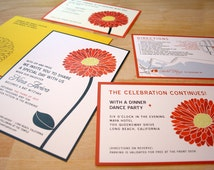 Gerbera Daisy Bat Mitzvah Invitations, Flower Red, Yellow Daisy, Custom Bat Mitzvah Invite, Jewish Invitation Girls Party Pink Orange
