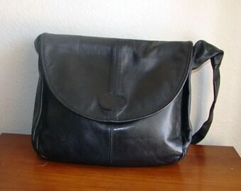 Genuine Leather Black Shoulder Bag