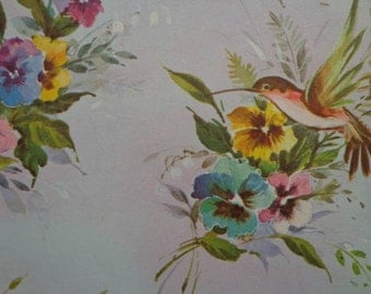 Vintage 1960s Gift Wrap All Occasion Birds & Flowers- 1 Sheet Vintage Gift Wrapping Paper