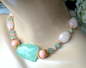 55% OFF SALE Aqua Chalcedony Chunky Choker Necklace Rose Quartz Coral Aquamarine Chunky Statement Choker Pastel Preppy Statement Summer Jewe
