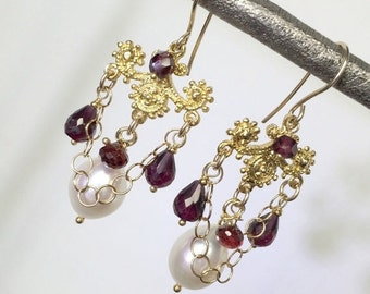 HALLOWEEN SALE Garnet Pearl Chandelier Earrings Gold Wire Wrap Red Garnet Gemstones January Birthstone Handmade Chandelier