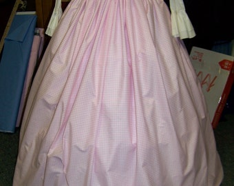 SALE Child's or Adult Colonial,Civil War,Victorian,costume Long drawstring SKIRT pink and white checked cotton,Handmade