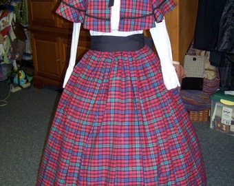 Victorian Civil War Ladies Outfit Long drawstring Skirt and cape Red, black, Teal and Blue Plaid with black Sash one size fit all