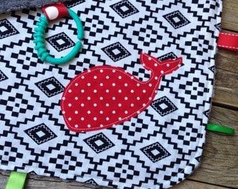 Aztec Whale Lovey Banket - black gray Minky - Stroller Blanket - baby shower - gift - black and white