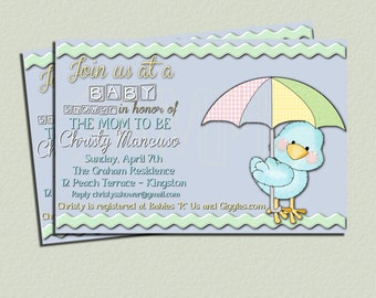 Custom Made - Chick with Umbrella - Baby Shower -  Invitation - 4 x 6 print - Digital Delivery