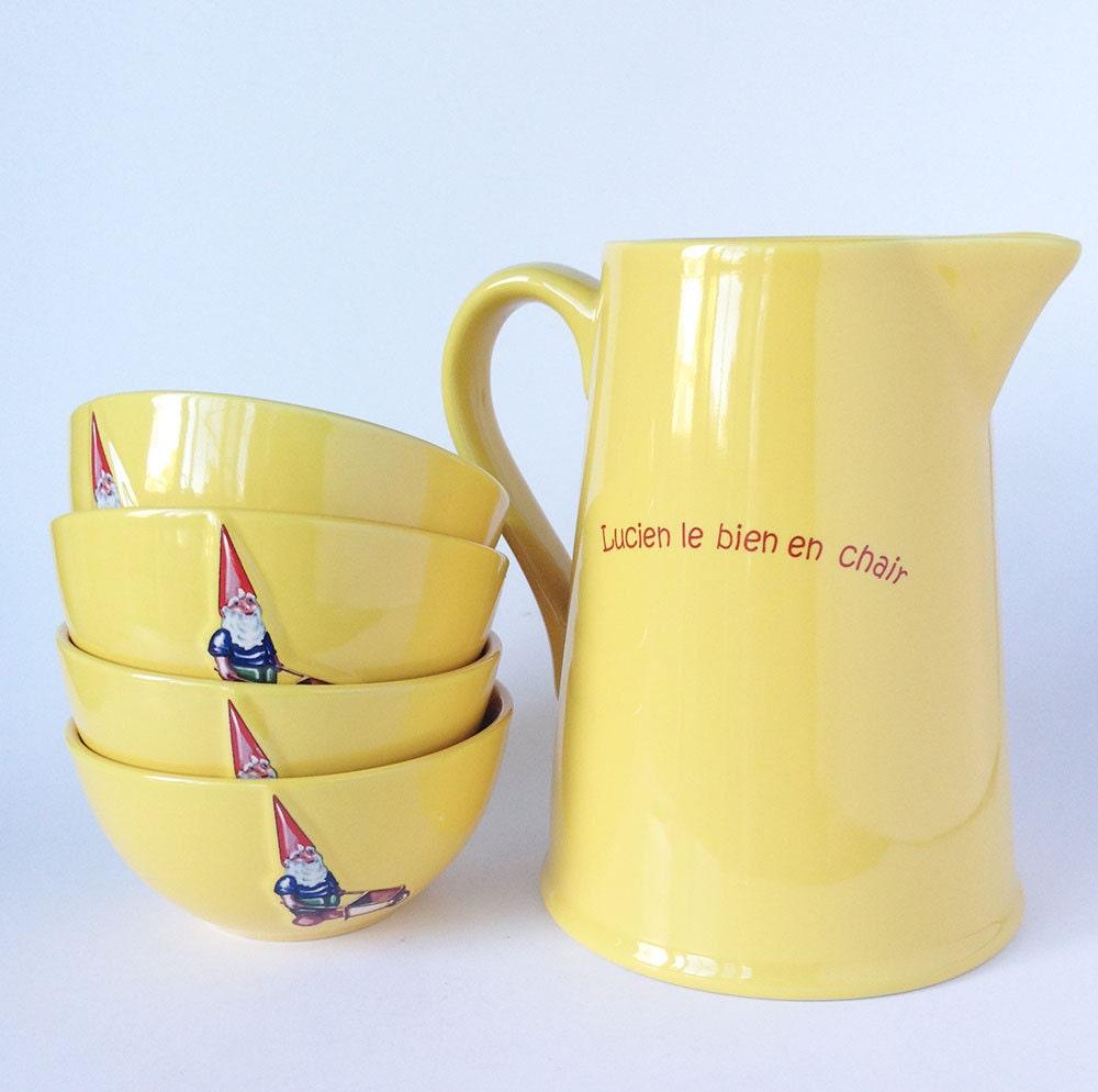 gnome bowls and pitcher set vintage bowls french kiss that. Black Bedroom Furniture Sets. Home Design Ideas