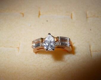 Vintage Engagement Wedding Ring Set Gold Tone Size 7