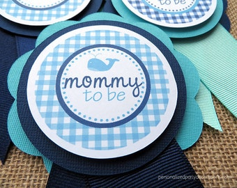 Nautical Whale Baby Shower Decorations, Nautical Whale Baby Shower Mom TO BE PIN, Boy Girl Baby Shower Decoration - You choose the colors