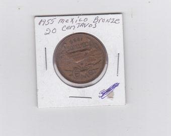 1955 Mexico bronze 20 centavos coin