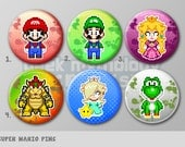 "Super Mario Bros Nintendo Pixel Art Pins or Magnets 1.5"" - Mario 