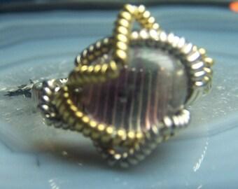Fluorite wire wrap ring size 6 - genuine natural purple green rainbow gemstone cabochon crystal - german silver gold tone brass handmade Ju1