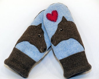 Horse Mittens Felted Recycled Wool in Light Blue and Brown with Horse Applique and Leather Palm Eco Friendly Upcycled  Size S