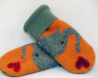 Recycled Sweater Mittens Felted Wool Orange and Grey Elephant Applique Fleece Lining Leather Palm Eco Friendly  Size S