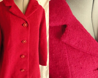 Vintage 1940's 1950's Cranberry Red Boucle Wool Blazer Jacket Size M