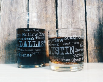 Austin Neighborhoods Typewriter | Etched Glass