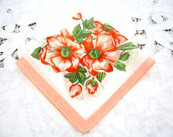 1960s Vintage Handkerchief - Floral Cotton Hanky - Coral Edge Hanky - Shower Favor - Something Old - Cotton Hanky