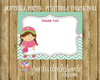 Softball Party - Brunette Softball Girl PRINTABLE Thank You Cards by The Birthday House