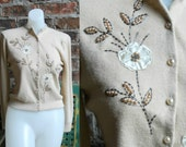 Reserved for Madelaine /// Vintage 1950's Beaded Cardigan, Cream with Pearls and Flowers, Cashmere Blend, Pearl Buttons, Brown Beads, Size S