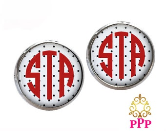 Monogram Earrings, Pendant Earrings, Silver Stud Earrings, Dangle Earrings, Personalized Studs, Personalized Jewelry, Monogram Studs   (338)