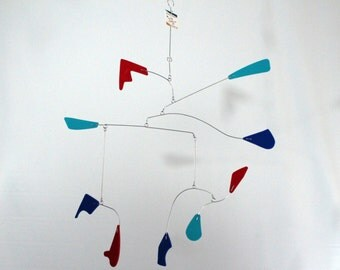Hanging Mobile For The Porch Patio or Garden Playroom Nursery SHIPPING INCLUDED Ready to Ship - 22w x 25t - Calder Inspired Mobile 102115-13