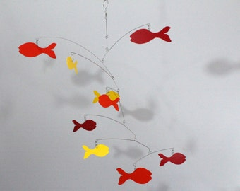 Fish Mobile / School of Fish / skys45 / Kinetic Art / Mobile Sculpture / Red Orange Yellow Fish Mobile / Nursery Mobile / Baby Mobile
