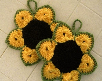 Crocheted Pair of Potholders - Sunflowers