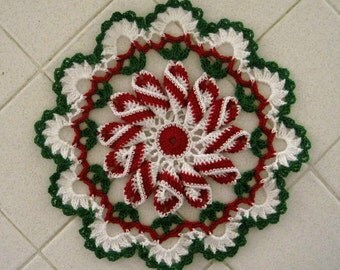Crocheted 9 Inch Twist Doily - Christmas Delight