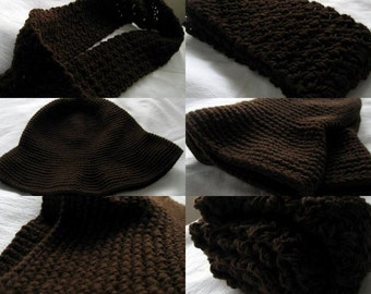Large Crochet Flip Up Hat and Infinity Cowl Neck Scarf SET, Chocolate Brown