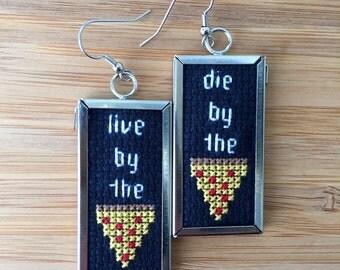 Pizza cross stitch earrings