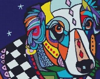 Cross Stitch Kit, Dog Cross Stitch, Counted Cross Stitch, Colorful Art, Colorful Cross Stitch, Australian Shepherd Dog, Heather Galler Art