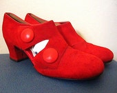Vintage 60s Mod Red Suede Two Button Slip On Shoes