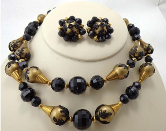 Necklace Earrings Beads Vintage Black Gold 1950s Lace Leaf 2 Strand 715
