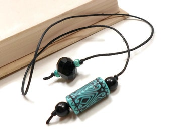 Turquoise Black Beaded Bookmark Book Thong Book Cord String Bookmark Gift under 5 Book Club Teacher Gift
