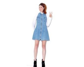 90s Denim Dress small // 90s dress jean dress RARE front zipper dress overall dress jumper dress summer dress mom jeans skater dress