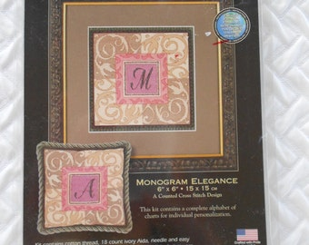DESTASH - Dimensions The Gold Collection Petites, Counted Cross Stitch Kit, Monogram Elegance, NEW