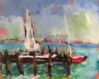 Acrylic painting, aqua blue hand painted medium size home decor impressionist sailboat beach seascape abstract painting  Russ Potak artist