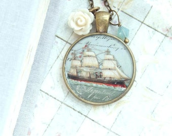 Ship Necklace Nautical Necklace Ship Pendant Necklace Ocean Necklace Nautical Gift Ship Jewelry