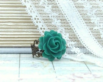 Emerald Green Ring Green Rose Ring Victorian Ring Green Flower Ring Emerlad Green Jewelry Green Floral Ring