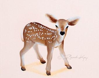 Deer Art print- Baby Girl Art - Fawn print - Nursery wall art - Deer Nursery - Girl prints - pink deer - Woodland nursery - Woodland Animals
