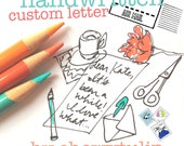 handwritten custom letter with stickers and hand painted envelopes and cats, OH MY