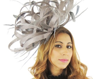 Grey Ostrich Fascinator Hat for Kentucky Derby, Weddings and Christmas Parties on a Headband (in 40 colours)