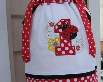 Sample Sale Half OFF Ladybug Birthday Pillowcase Dress, 1st birthday party dress, red ladybug party dress